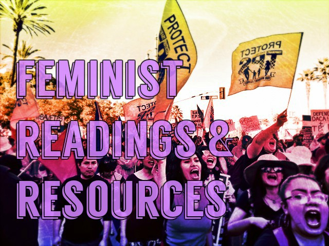 Image for feminist readings and resources with women marching in background