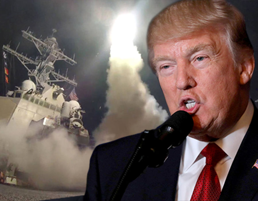 Image of missile launching from US ship with Trump in foreground