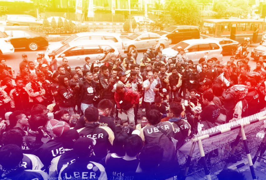 Gathering of striking Uber drivers
