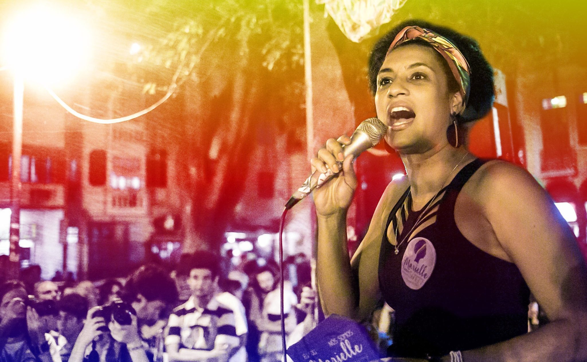 Brazilian activist Marielle Franco speaking at a rally