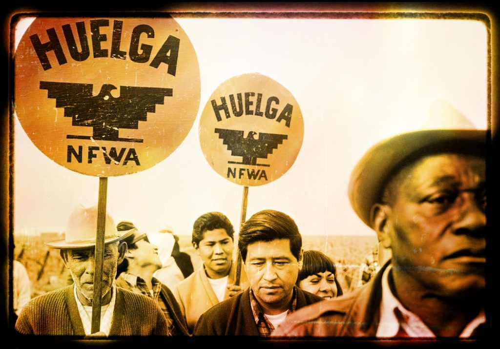 Photo of Cesar Chavez marching and huelga signs