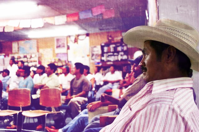 Seated man participates in meeting of farm workers
