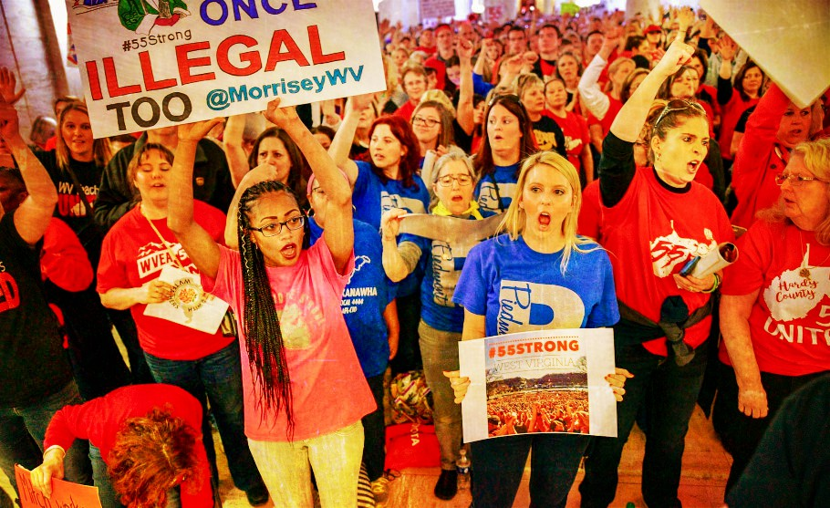 Crowd of striking West Virginia teachers rallie