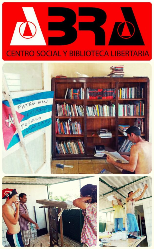 "Collage of images showing participants in Abra center preparing the building. One image shows a bookshelf with a participant reading, a Cuban flag is on the wall and written in marker are the words ""Patria sin estado, pueblo organizado."""