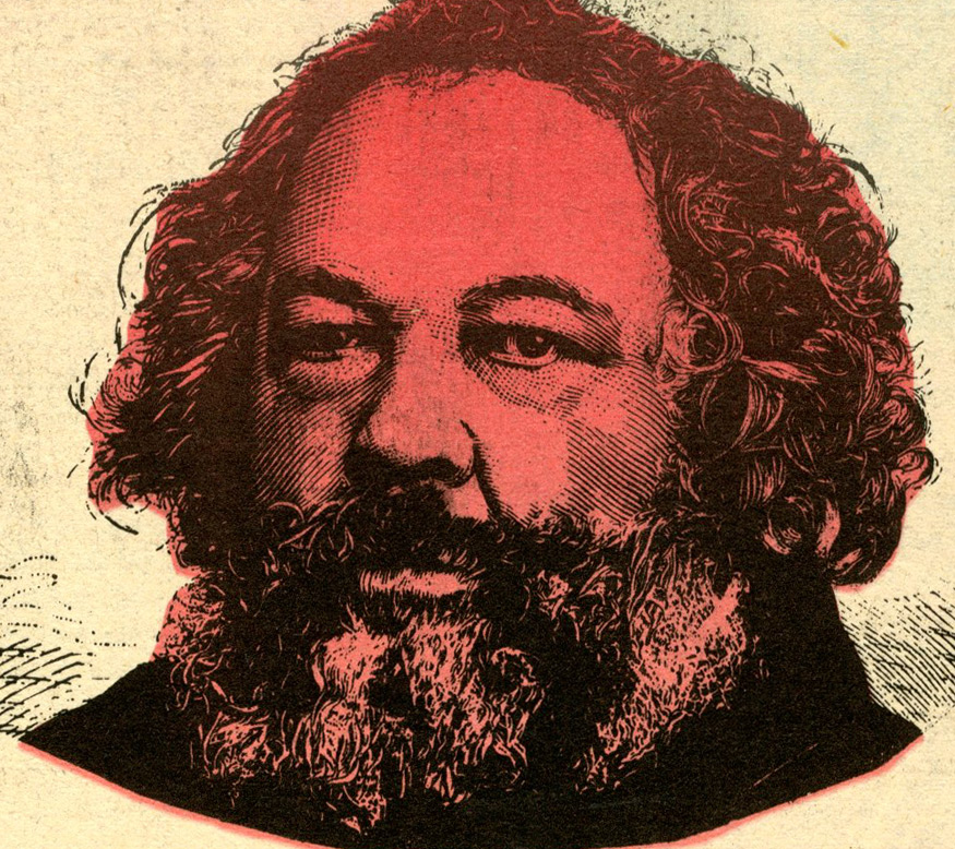 Photo of Bakunin with red colorization.