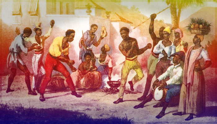 Drawing depicting colonial era slavery in Brazil. A circle is gathered around two men engaged in Capoeira dance.