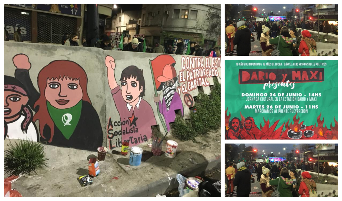 Collage of images related to the ASL in Argentina showing a wall mural of various protester, a protest and an event flyer