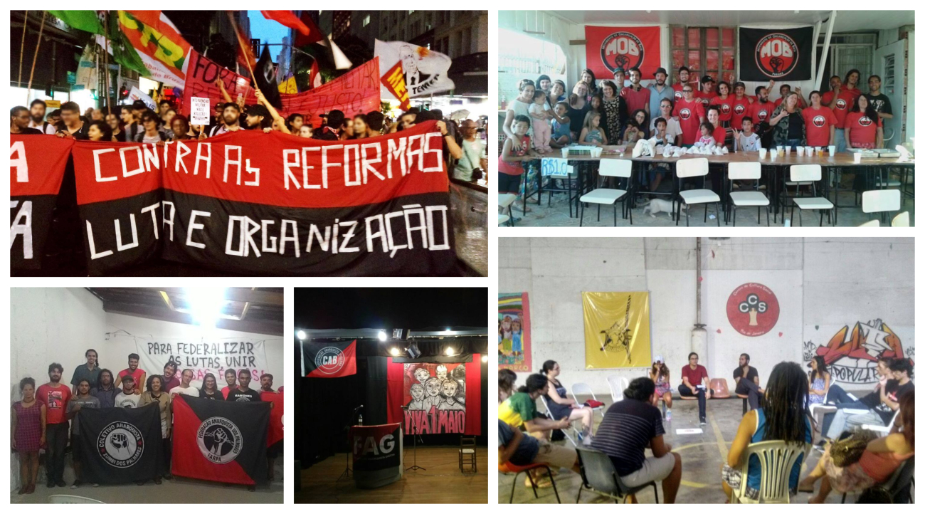 Collage of images related to the CAB showing protest and various political or social organization meetings