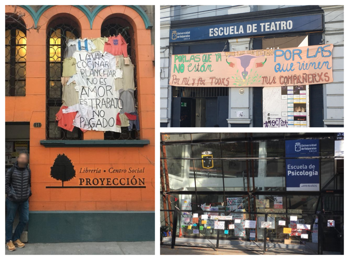 Collage of photos from Chile showing the bookstore Proyecion and feminist occupations
