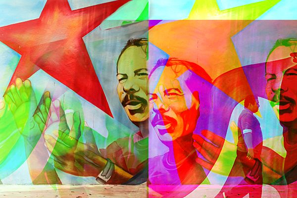Stylized photo of mural depicting Nicaraguan President Daniel Ortega