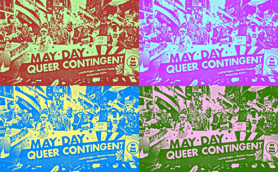Queer may day contingent mixed into four multicolor sections