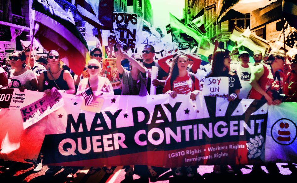 Stylized photo of a May Day queer contingent march