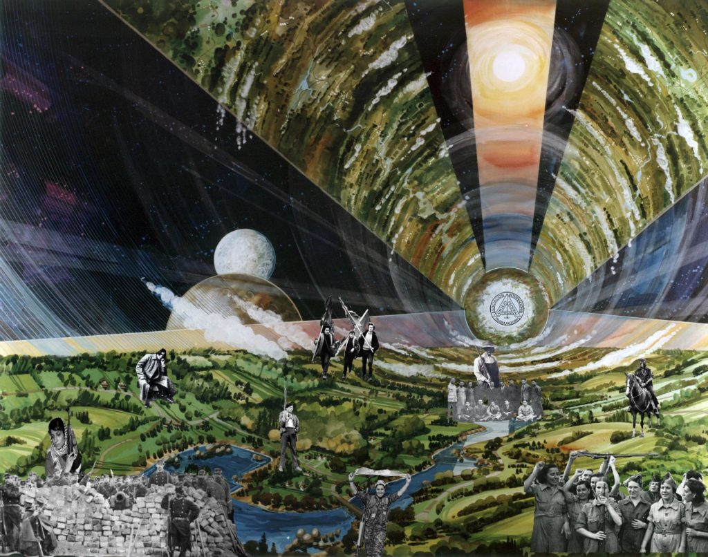 Collage of landscape with space pod, suggesting futuristic themes. Various figures of anarchism can be seen on the landscape.