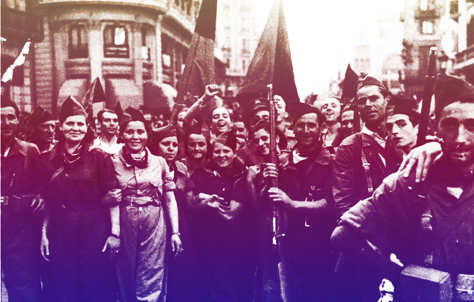 Historical photo of CNT militia members marching in the street with arms
