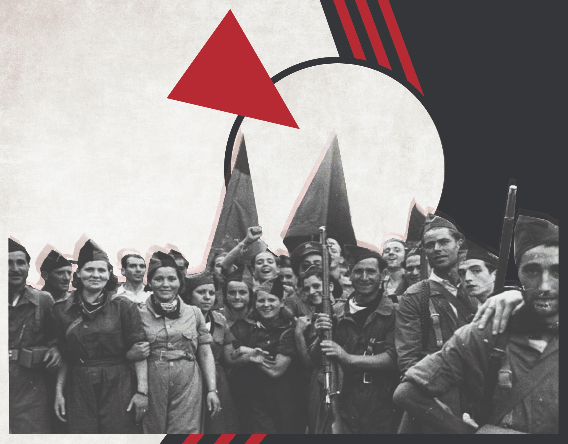 "Image showing CNT aligned militia members during Spanish Revolution. Image also depicts the classic ""red wedge"" image of the Russian Revolution."