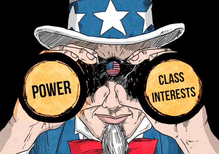 "Drawing of Uncle Sam figure looking through binoculars. One lens says ""power"" the other ""class interests."""