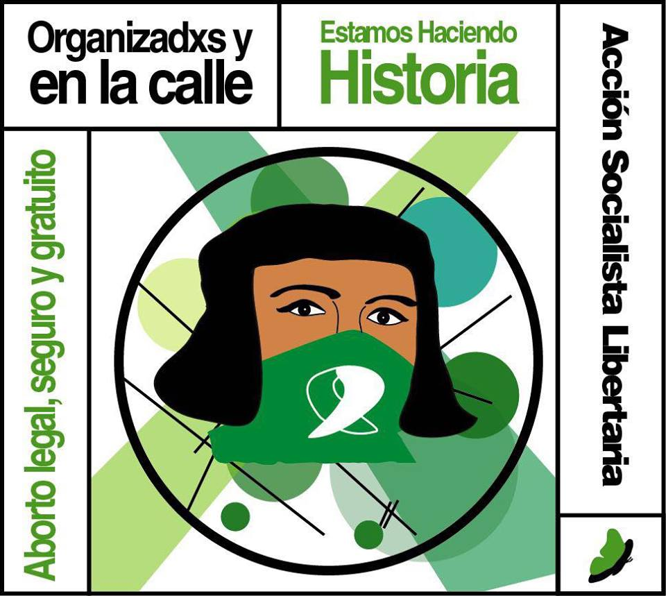 Graphic illustration of woman with green bandana which is the symbol of the abortion rights movement in Latin America.