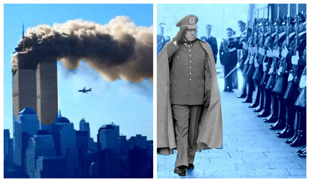 Two images: World trade center towers hit by plane on 9-11 and Pinochet saluting troops.