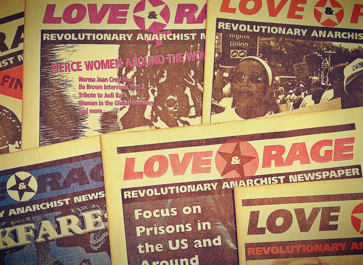 Photo of various issues of Love and Rage newspaper.