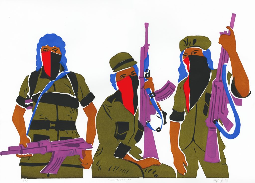 Illustration: Three woman guerrillas with rifles and and red and black masks.