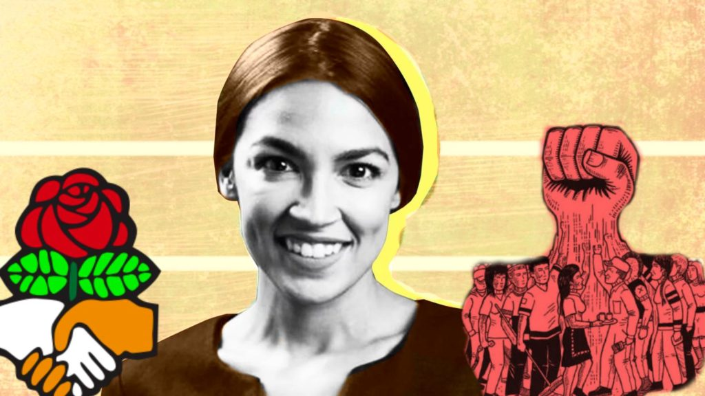 Illustration of Ocasio-Cortez flanked by DSA fist and image of crowd of workers with firsts united into one large first.