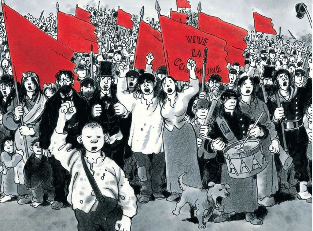 Cartoon drawing of crowd of commune participants fists in air, waving red flags.