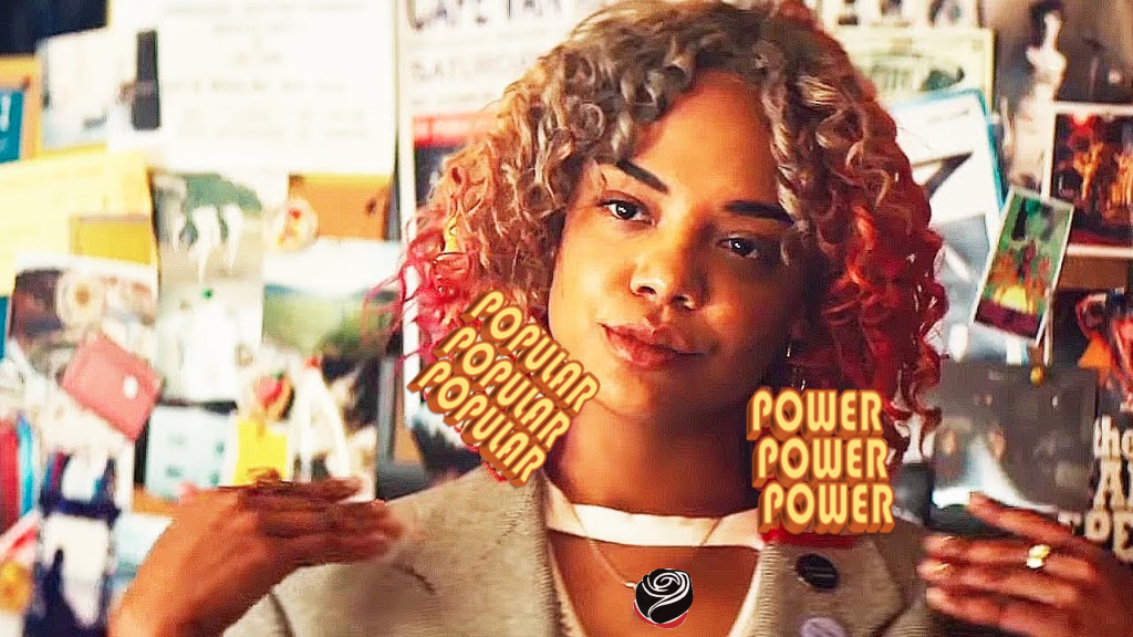 "Iconic image of Detroit character from film ""Sorry to Bother You."" Earrings have been changed from ""murder"" and ""kill"" to ""Popular Power."""