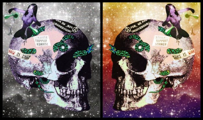 Multimedia art of skull with space background.