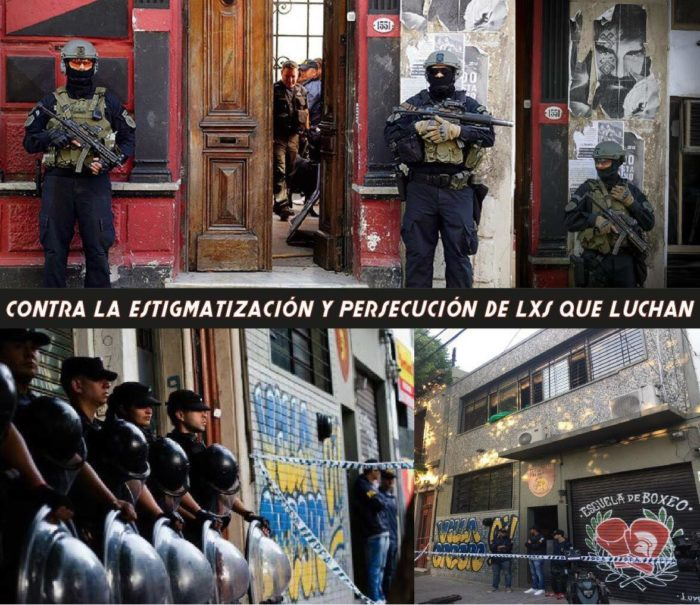 Photo showing police raiding a social center in Buenos Aires, Argentina.