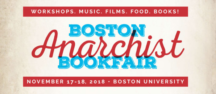Banner advertisement for the Boston Anarchist Bookfair