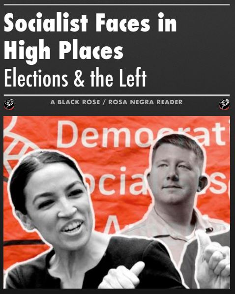 Image of reader cover with picture of Alexandria Ocasio-Cortez and Lee Cater, two elected DSA members.