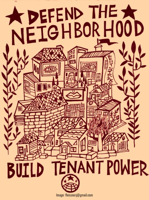 "Woodcut image of housing and slogan ""defend the neighborhood, build tenant power"""