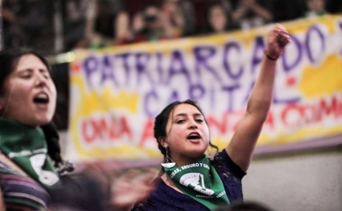 Woman with raised fist with green bandanna of the abortion rights movement. In the background is a banner on patriarchical capitalism.