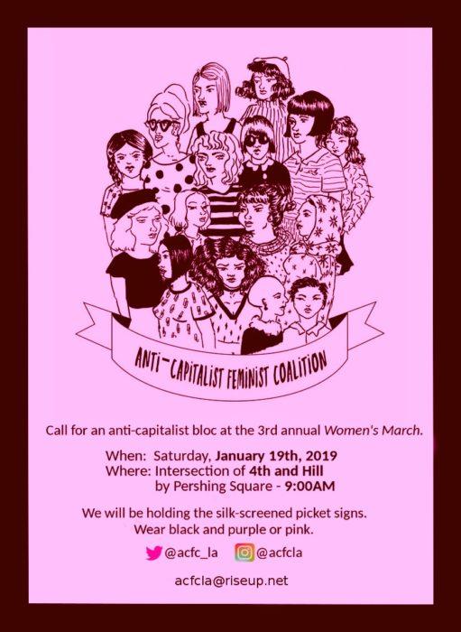 Flyer calling for an Anti-capitalist feminist coalition. Included text and line drawing of a group of women.