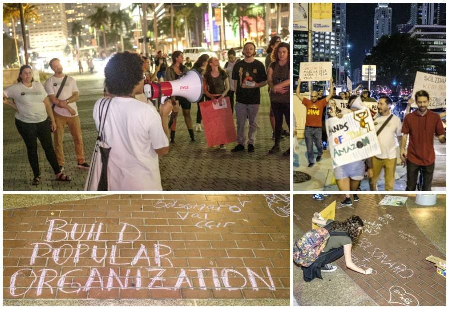 Collage of images: Top left and right shows marchers and crows and bottom left and right show chalk drawings of anti-Bolsonaro slogans.