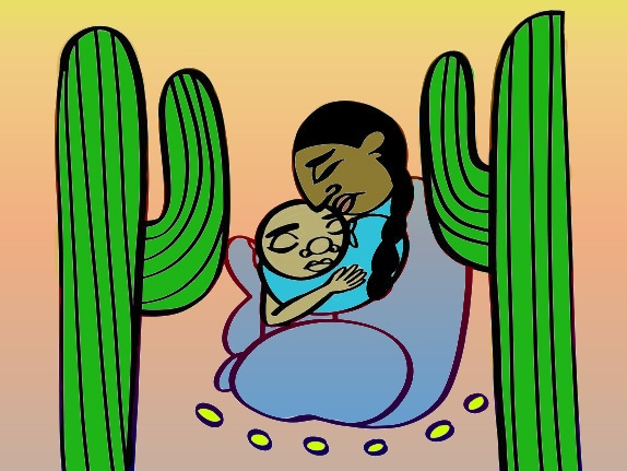 Illustration depicts migrant mother holding young child with cacti on either side.