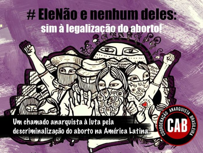#EleNao themed image with woman and abortion rights slogan.