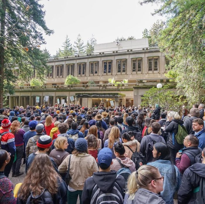 Image of student rally in support of striking grad students.