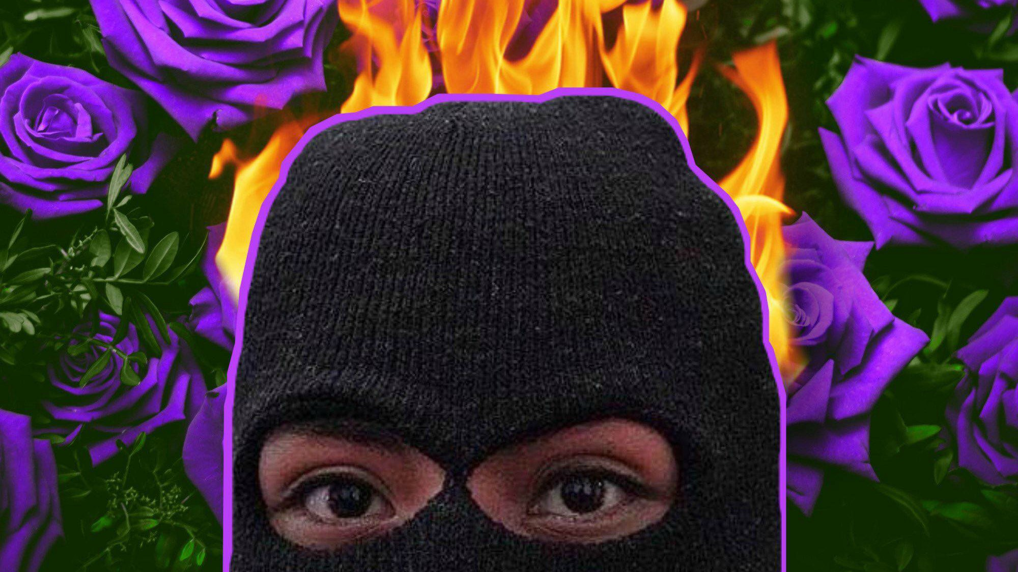 Digital art image of masked woman protester from occupation with flames behind her and purple roses to either side.